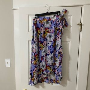 Maeve (Anthropologie) Floral Wrap Midi Skirt